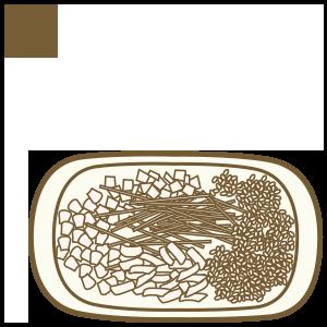 取桌上熟食區 至炒飯食材曲盛裝食材