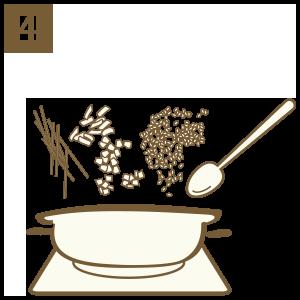 放入食材拌炒至微收乾 關火後待熱氣蒸發即可享用